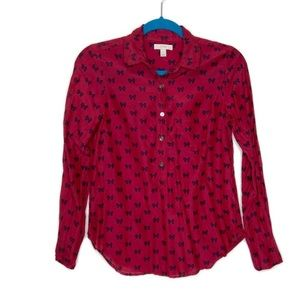 J Crew Silk Blend Red Bow Print Boy Popover